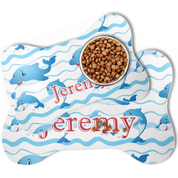 Dolphins Bone Shaped Dog Food Mat (Personalized)