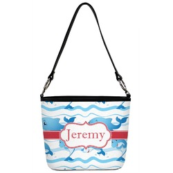Dolphins Bucket Bag w/ Genuine Leather Trim (Personalized)