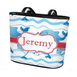 Dolphins Bucket Tote w/ Genuine Leather Trim (Personalized)