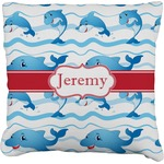 Dolphins Faux-Linen Throw Pillow (Personalized)