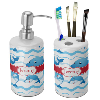 Dolphins Ceramic Bathroom Accessories Set (Personalized)