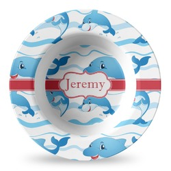 Dolphins Plastic Bowl - Microwave Safe - Composite Polymer (Personalized)