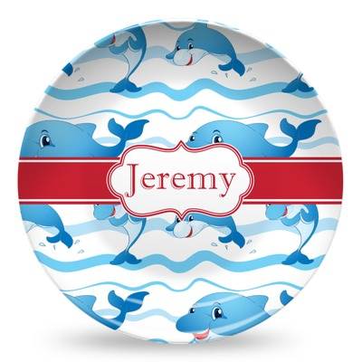 Dolphins Microwave Safe Plastic Plate - Composite Polymer (Personalized)
