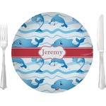 """Dolphins Glass Lunch / Dinner Plates 10"""" - Single or Set (Personalized)"""