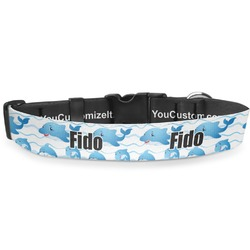 """Dolphins Deluxe Dog Collar - Small (8.5"""" to 12.5"""") (Personalized)"""