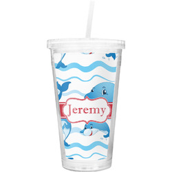 Dolphins Double Wall Tumbler with Straw (Personalized)