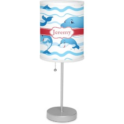 """Dolphins 7"""" Drum Lamp with Shade Linen (Personalized)"""