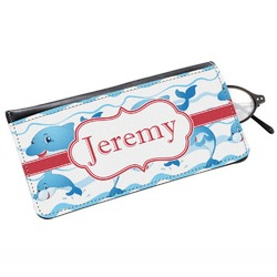 Dolphins Genuine Leather Eyeglass Case (Personalized)
