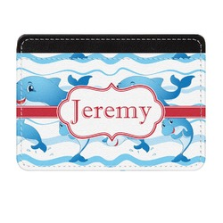 Dolphins Genuine Leather Front Pocket Wallet (Personalized)