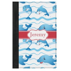 Dolphins Genuine Leather Passport Cover (Personalized)