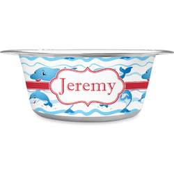 Dolphins Stainless Steel Dog Bowl (Personalized)