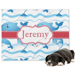 Dolphins Minky Dog Blanket - Regular (Personalized)