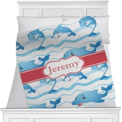 "Dolphins Fleece Blanket - Twin / Full - 80""x60"" - Double Sided (Personalized)"