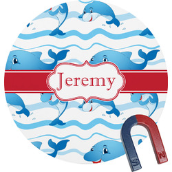Dolphins Round Magnet (Personalized)