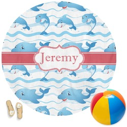 Dolphins Round Beach Towel (Personalized)