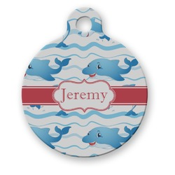 Dolphins Round Pet ID Tag (Personalized)