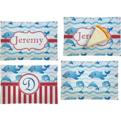 Dolphins Set of 4 Glass Rectangular Appetizer / Dessert Plate (Personalized)