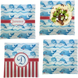 Dolphins Set of 4 - Square Dinner Plates (Personalized)