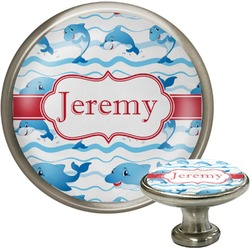 Dolphins Cabinet Knob (Silver) (Personalized)