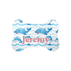 Dolphins Bone Shaped Dog Food Mat (Small) (Personalized)