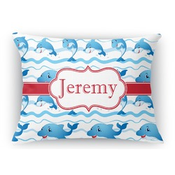 Dolphins Rectangular Throw Pillow Case (Personalized)