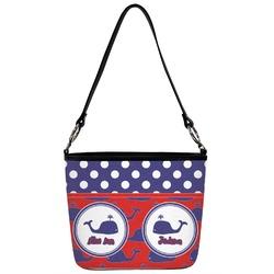 Whale Bucket Bag w/ Genuine Leather Trim (Personalized)