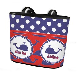 Whale Bucket Tote w/ Genuine Leather Trim (Personalized)