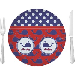 """Whale Glass Lunch / Dinner Plates 10"""" - Single or Set (Personalized)"""