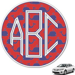 Whale Monogram Car Decal (Personalized)