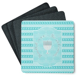 Hanukkah 4 Square Coasters - Rubber Backed (Personalized)