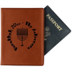 Hanukkah Leatherette Passport Holder - Single Sided (Personalized)