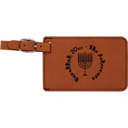 Hanukkah Leatherette Luggage Tag (Personalized)