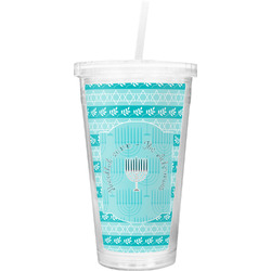 Hanukkah Double Wall Tumbler with Straw (Personalized)