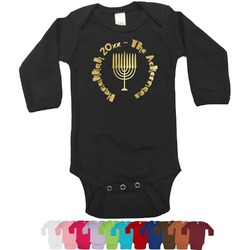 Hanukkah Foil Bodysuit - Long Sleeves - 3-6 months - Gold, Silver or Rose Gold (Personalized)