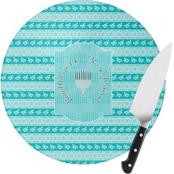 Hanukkah Round Glass Cutting Board (Personalized)