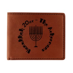 Hanukkah Leatherette Bifold Wallet (Personalized)