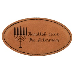 Hanukkah Leatherette Oval Name Badge with Magnet (Personalized)