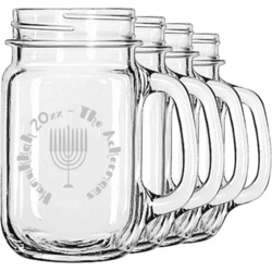 Hanukkah Mason Jar Mugs (Set of 4) (Personalized)