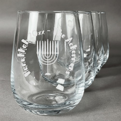 Hanukkah Wine Glasses (Stemless Set of 4) (Personalized)