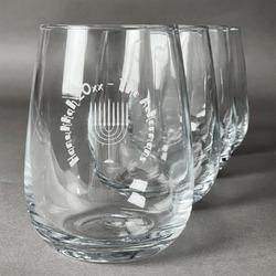Hanukkah Stemless Wine Glasses (Set of 4) (Personalized)