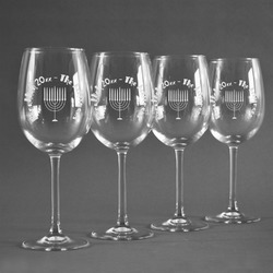 Hanukkah Wine Glasses (Set of 4) (Personalized)