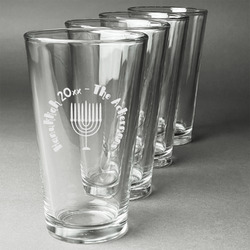 Hanukkah Beer Glasses (Set of 4) (Personalized)