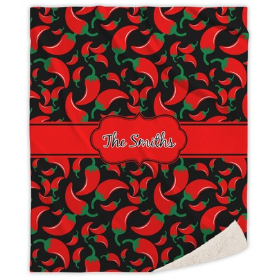 Chili Peppers Sherpa Throw Blanket (Personalized)