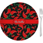 """Chili Peppers Glass Appetizer / Dessert Plates 8"""" - Single or Set (Personalized)"""