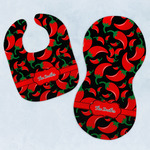 Chili Peppers Baby Bib & Burp Set w/ Name or Text