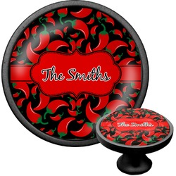 Chili Peppers Cabinet Knob (Black) (Personalized)