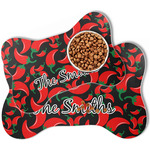 Chili Peppers Bone Shaped Dog Food Mat (Personalized)