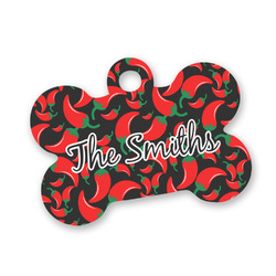 Chili Peppers Bone Shaped Dog ID Tag (Personalized)