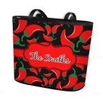 Chili Peppers Bucket Tote w/ Genuine Leather Trim (Personalized)