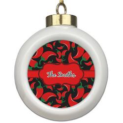 Chili Peppers Ceramic Ball Ornament (Personalized)